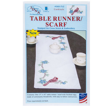 Cardinals Table Runner Stamped Embroidery Kit
